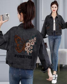 Spring and autumn butterfly denim coat retro loose tops for women