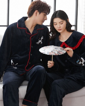 Homewear winter couples thick flannel pajamas a set