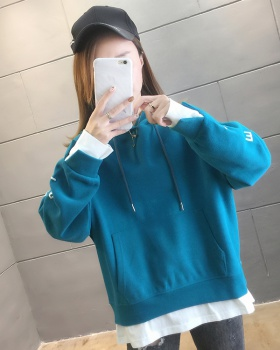 Pseudo-two spring hooded embroidery hoodie for women