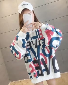 Whole body loose large yard thin hooded letters hoodie