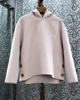 Woolen lazy autumn Casual hoodie European style hooded loose tops