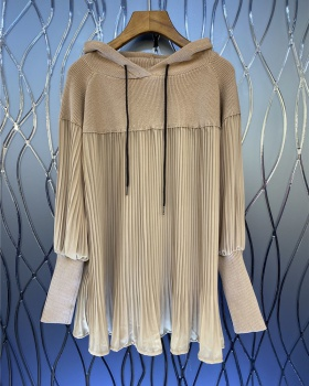 Hooded gauze long tops knitted pleated spring hoodie for women