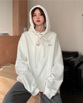 Hooded Korean style spring coat loose black hoodie for women