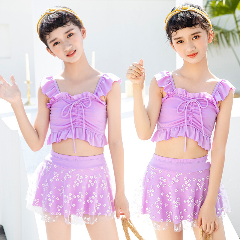 Girl lovely fashion Western style separate pure swimwear