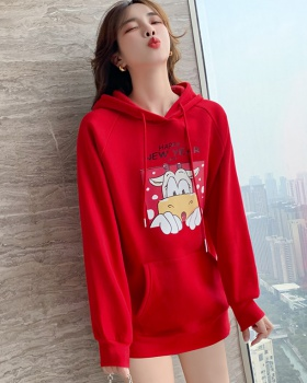 Cartoon thick red hoodie plus velvet spring tops