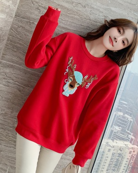 Thick plus velvet hoodie spring red tops for women