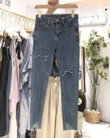 Slim retro Korean style jeans holes student pencil pants