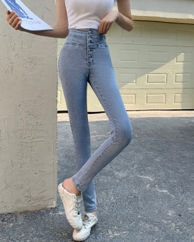 Feet single-breasted jeans high waist pencil pants for women