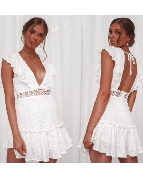Sexy halter European style V-neck lace waist dress