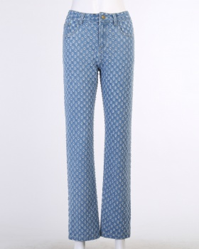European style patterns jeans slim casual pants for women