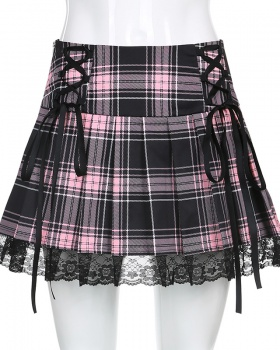 Winter pleated sexy lace plaid European style skirt