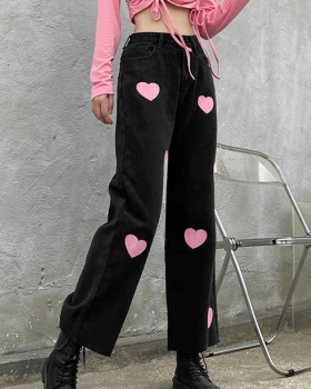 Street Casual autumn and winter pink jeans for women