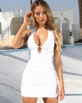 Sexy European style halter large yard dress for women