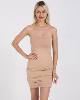 Package hip sexy European style wrapped chest fold dress for women