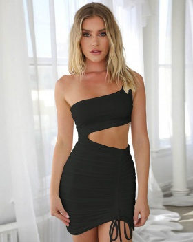 Fold bandage sexy hollow package hip dress
