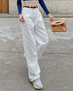 Slim white straight wide leg pants high waist loose jeans