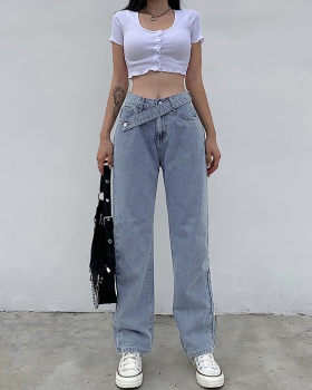Waistband denim loose European style pure casual pants