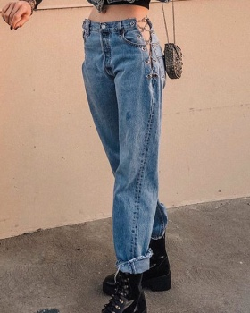 Washed chain summer straight pants sexy split irregular jeans