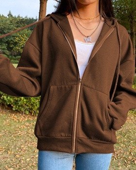 Autumn and winter hooded tops retro brown hoodie for women
