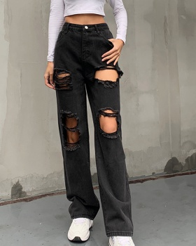 European style slim holes spring Casual jeans for women