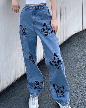 Butterfly printing high waist fashion sexy jeans