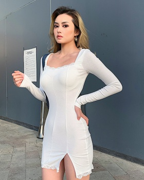 Tight package hip split European style lace dress