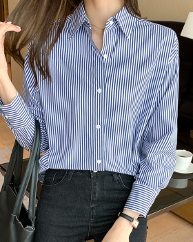 Stripe long sleeve profession tops all-match spring shirt
