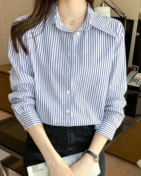 Spring fashion V-neck shirt all-match stripe tops for women
