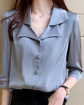 Satin loose tops France style long sleeve shirt for women