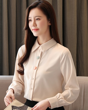 Personality buckle shirt tops for women