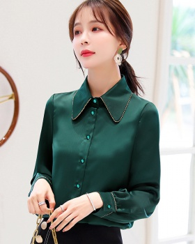 Face large yard silk tops spring doll shirt for women