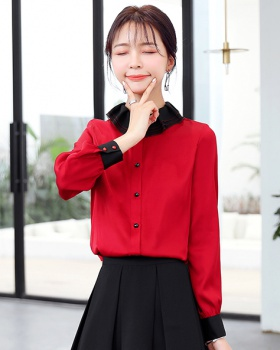 Long sleeve red business suit temperament silk tops for women