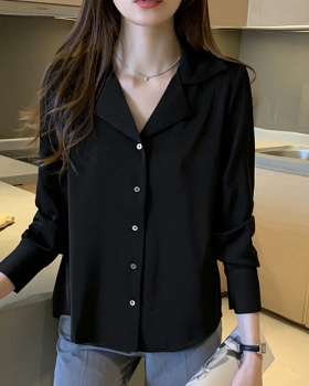 Retro spring shirt satin business suit for women
