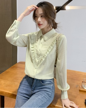 Lace lotus leaf edges shirt fashion tops for women
