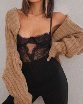 European style all-match short sweater sexy autumn tops