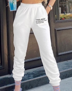 European style sports casual pants pure sweatpants for women