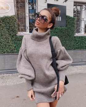 Autumn and winter Casual high collar sweater dress for women