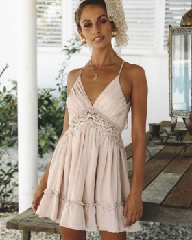 Sling sexy waist European style lace halter dress
