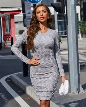 European style long sleeve round neck dress for women