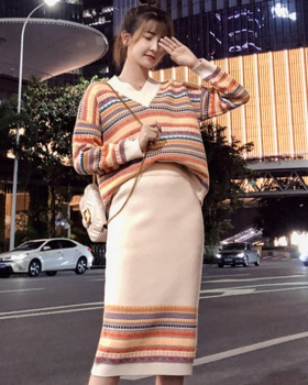 Loose skirt knitted sweater 2pcs set for women