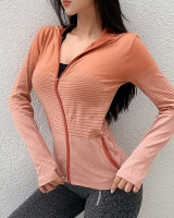 Slim zip sports tops hooded fitness coat for women