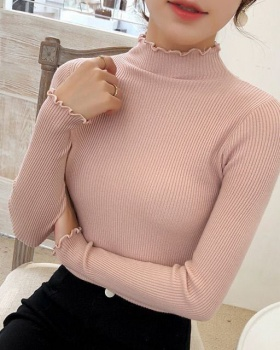 Half high collar thin sweater slim long sleeve tops for women