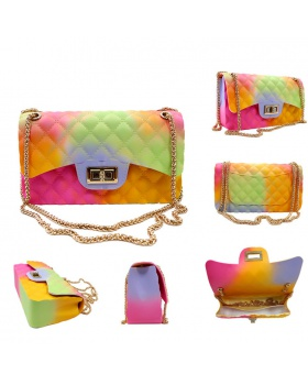 Quilted colors diagonal package jelly shoulder bag