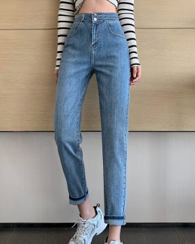 Slim cozy fashion youth high waist breathable jeans for women