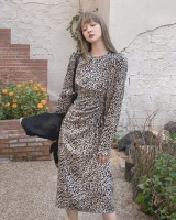 Spring round neck dress France style long dress for women