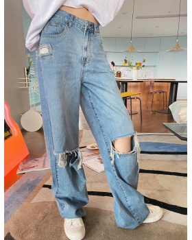 Slim high waist wide leg jeans spring mopping pants for women