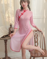 Side slit sexy Sexy underwear plaid cheongsam a set