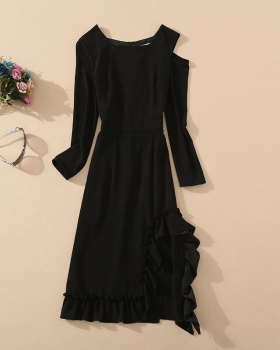 Long sleeve split European style strapless dress for women