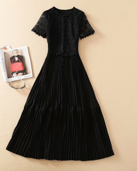 Temperament black ladies long dress lace slim dress