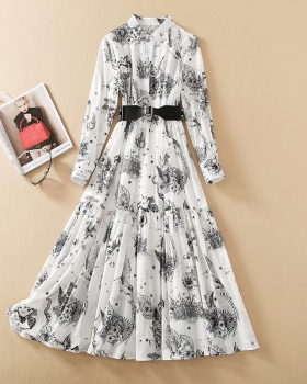 Spring and summer shirt collar belt printing cotton dress